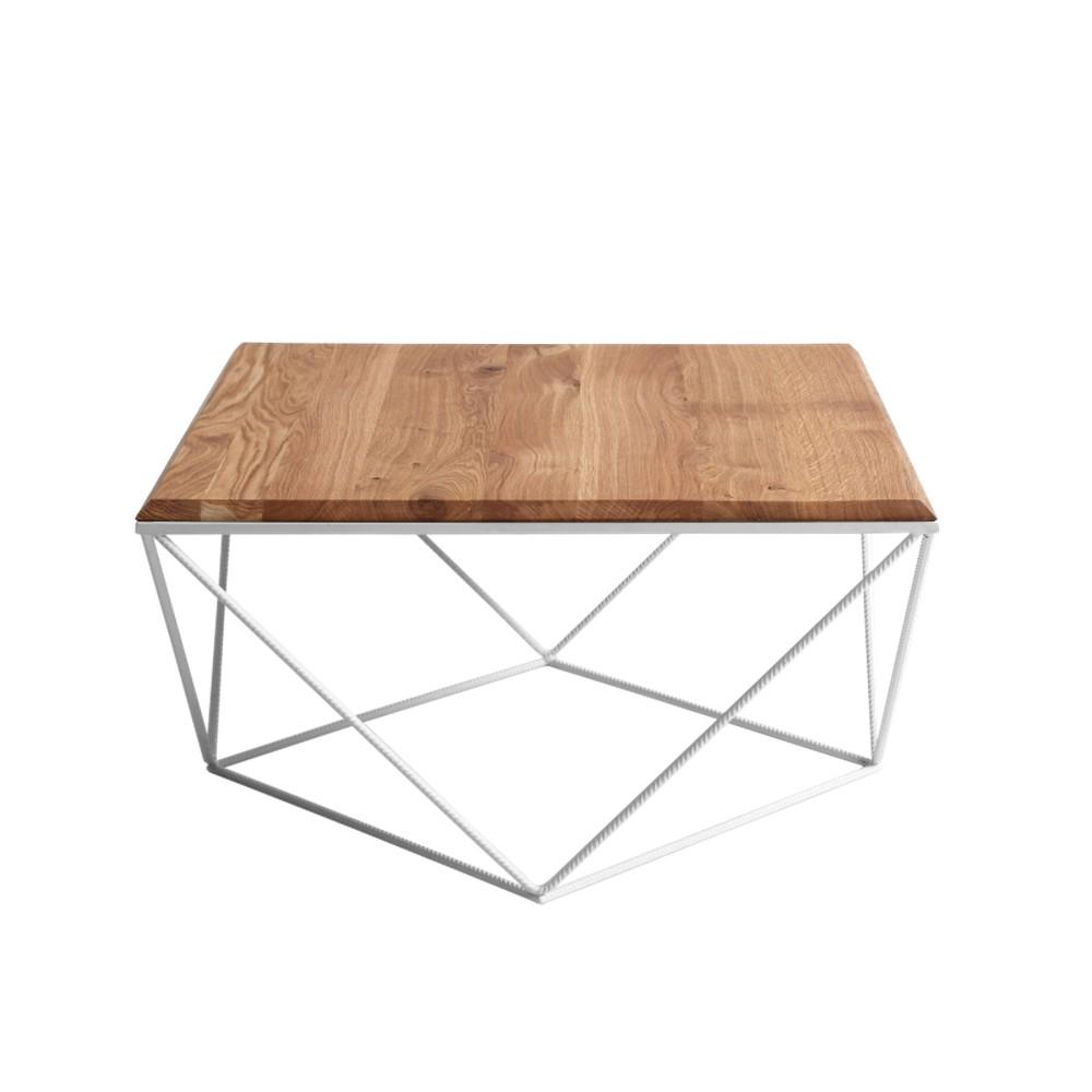 Konferenčný stolík s bielou podnožou a doskou z masívneho dubu Custom Form Daryl, šírka 80 cm