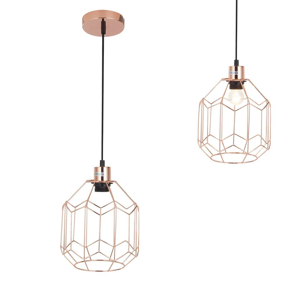[lux.pro]® Dekoratívna dizajnová design závesná lampa / stropná lampa - meď (1 x E27)