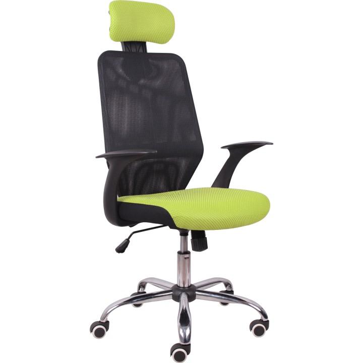 Kancelárska stolička REYES 8102  CIERNA+ZELENA SIETKA+CHROM