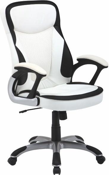 Kancelárske kreslo, ekokoža PU bielo-čierna, AFRA