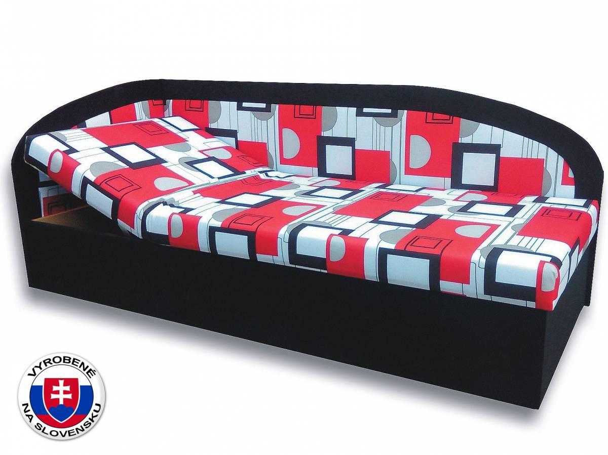 Jednolôžková posteľ (váľanda) 90 cm Kamila (Čierna 39 + Otawa 1a) (L)