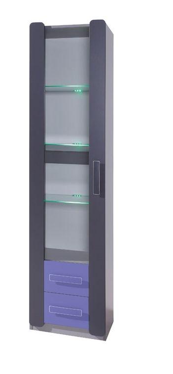 Vitrína FIGARO 1D, 203x50x42 cm, grafit/fialová, zelené LED