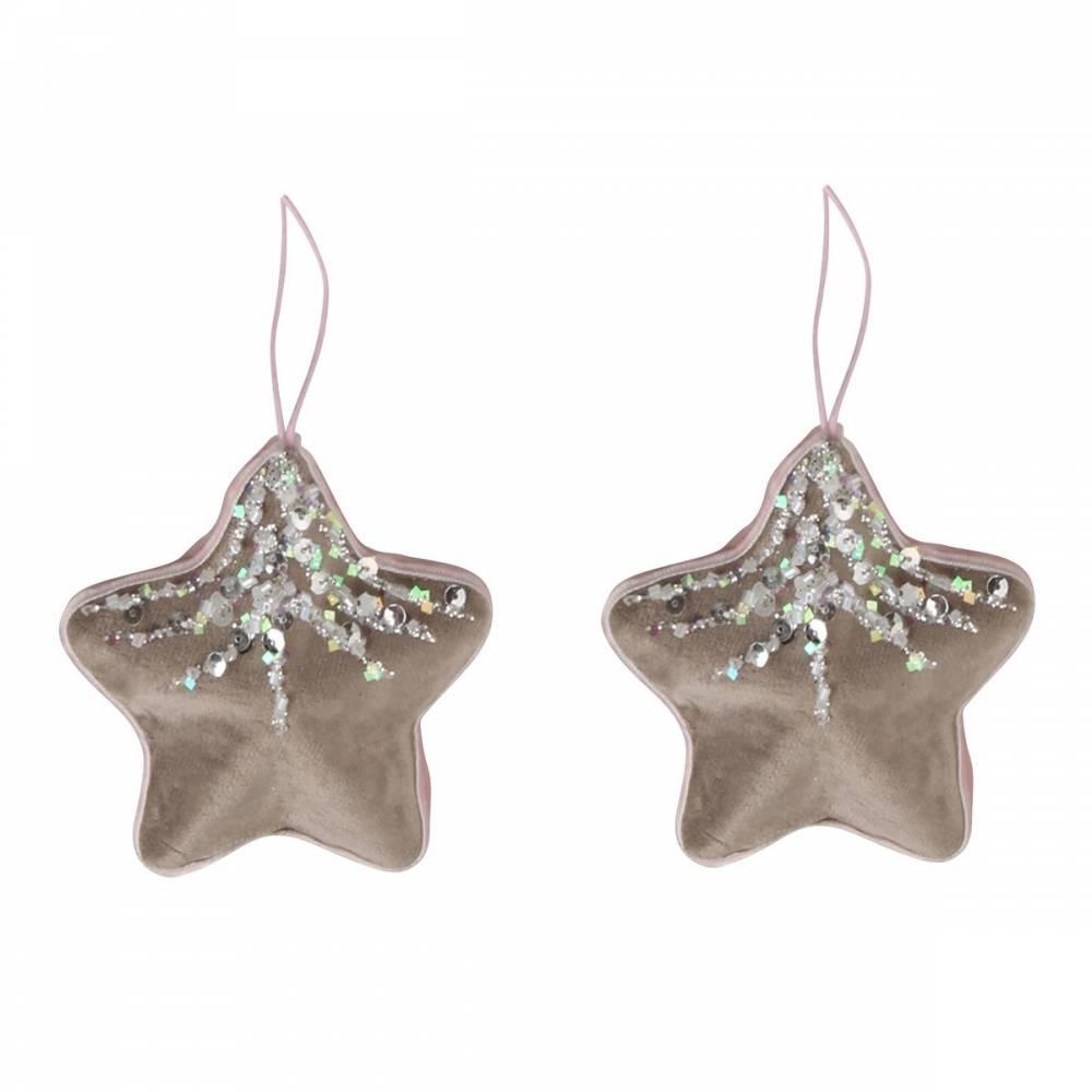 Altom Sada zamatových vianočných ozdôb Shiny Stars 2 ks, sivá