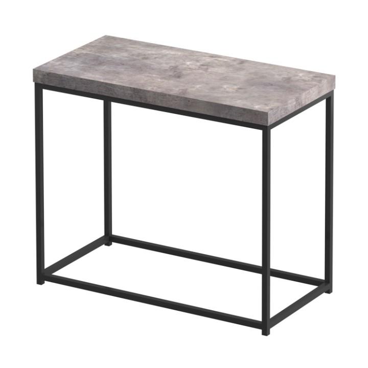 TEMPO KONDELA Príručný stolík, čierna/betón, TENDER