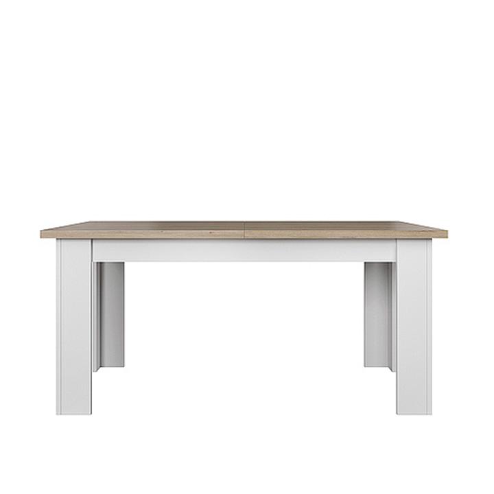 TEMPO KONDELA Jedálenský rozkladací stôl, biela/dub kamenný, VERLA 160/210