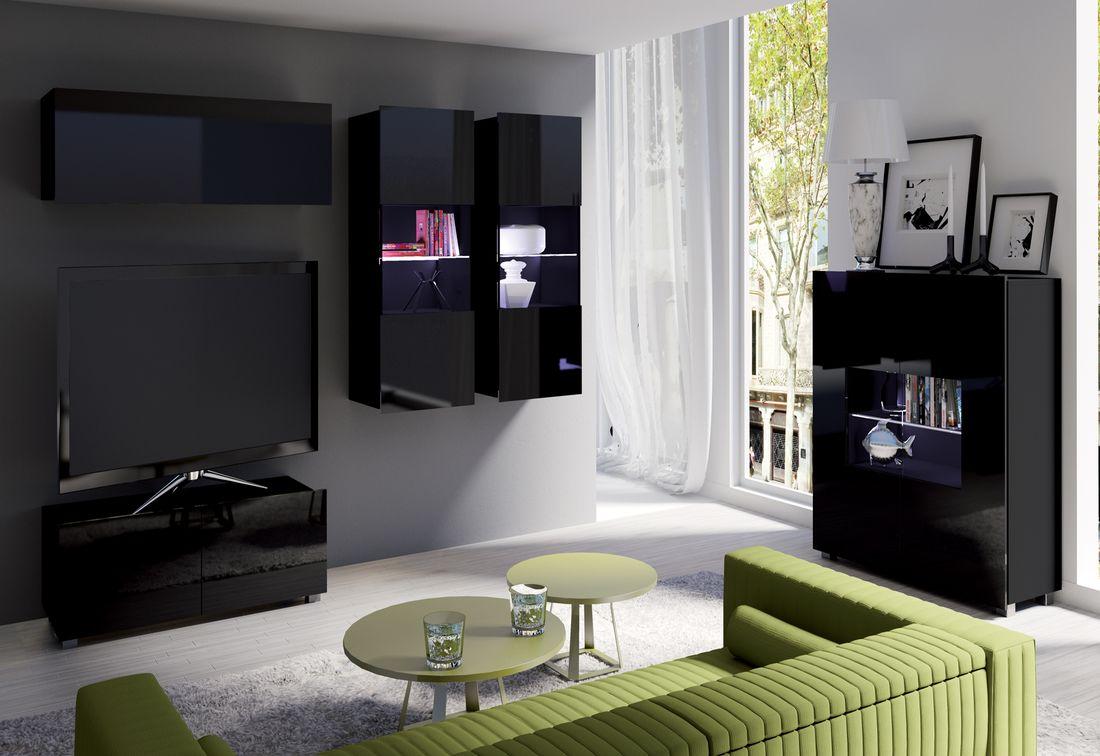 Obývacia zostava BRINICA NR12, čierna/čierny lesk + modrý LED