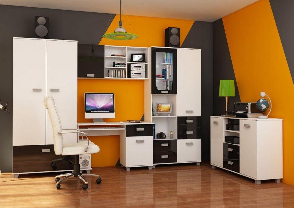 Študentská izba SOLO II   Farba: Biela / čierny lesk