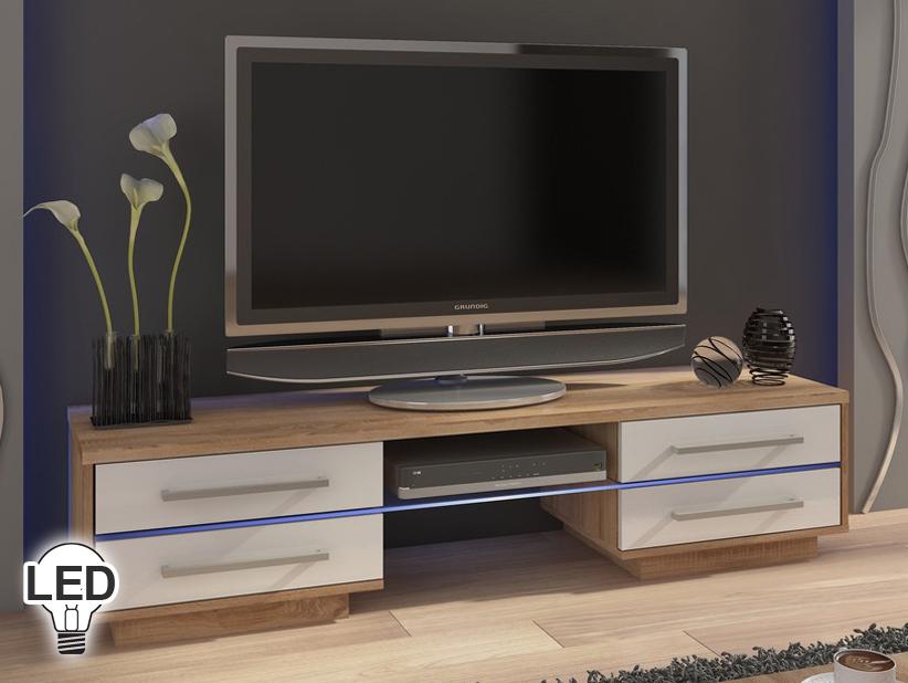 TV stolík/skrinka Laguna (sonoma svetlá + lesk biely) *výpredaj