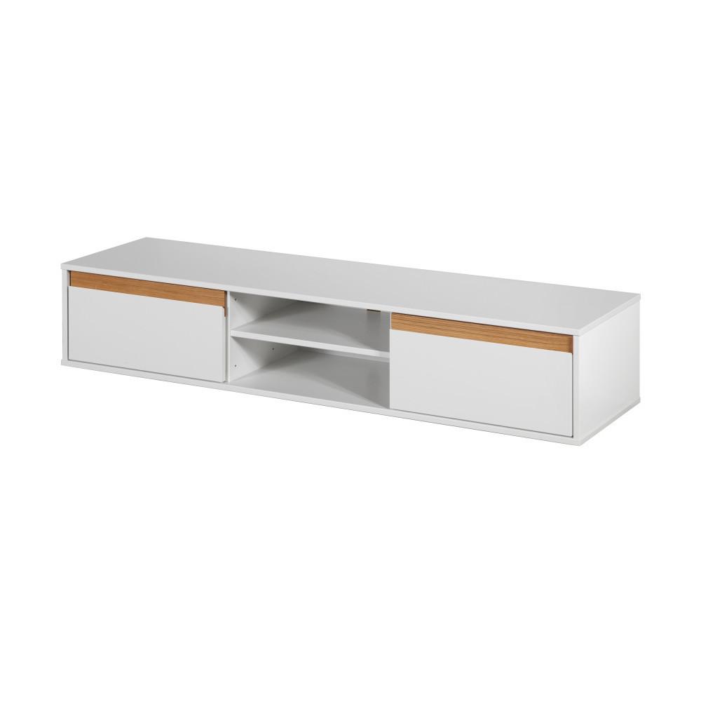 Biela nástenná TV komoda s drevenými detailmi Dřevotvar Ontur 01