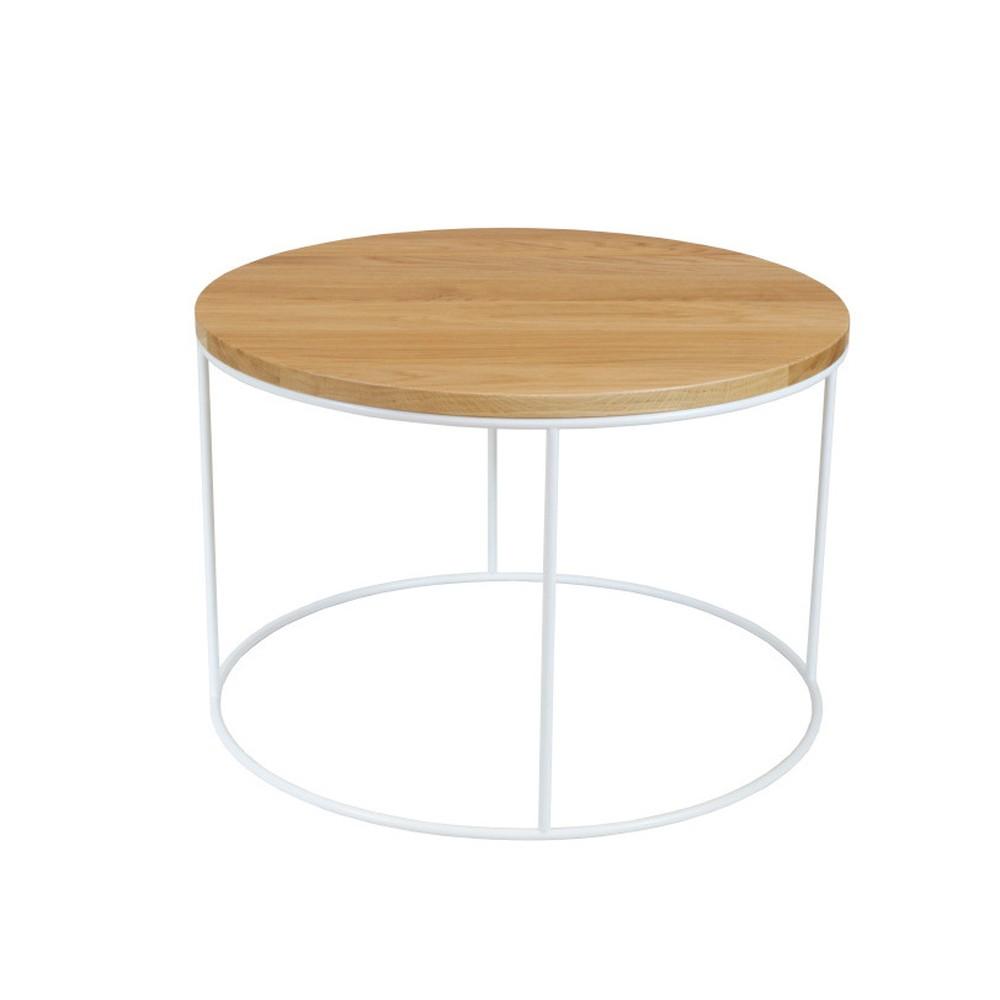 Biely konferenčný stolík s doskou z dubového dreva Take Me HOME Elk, ⌀60cm