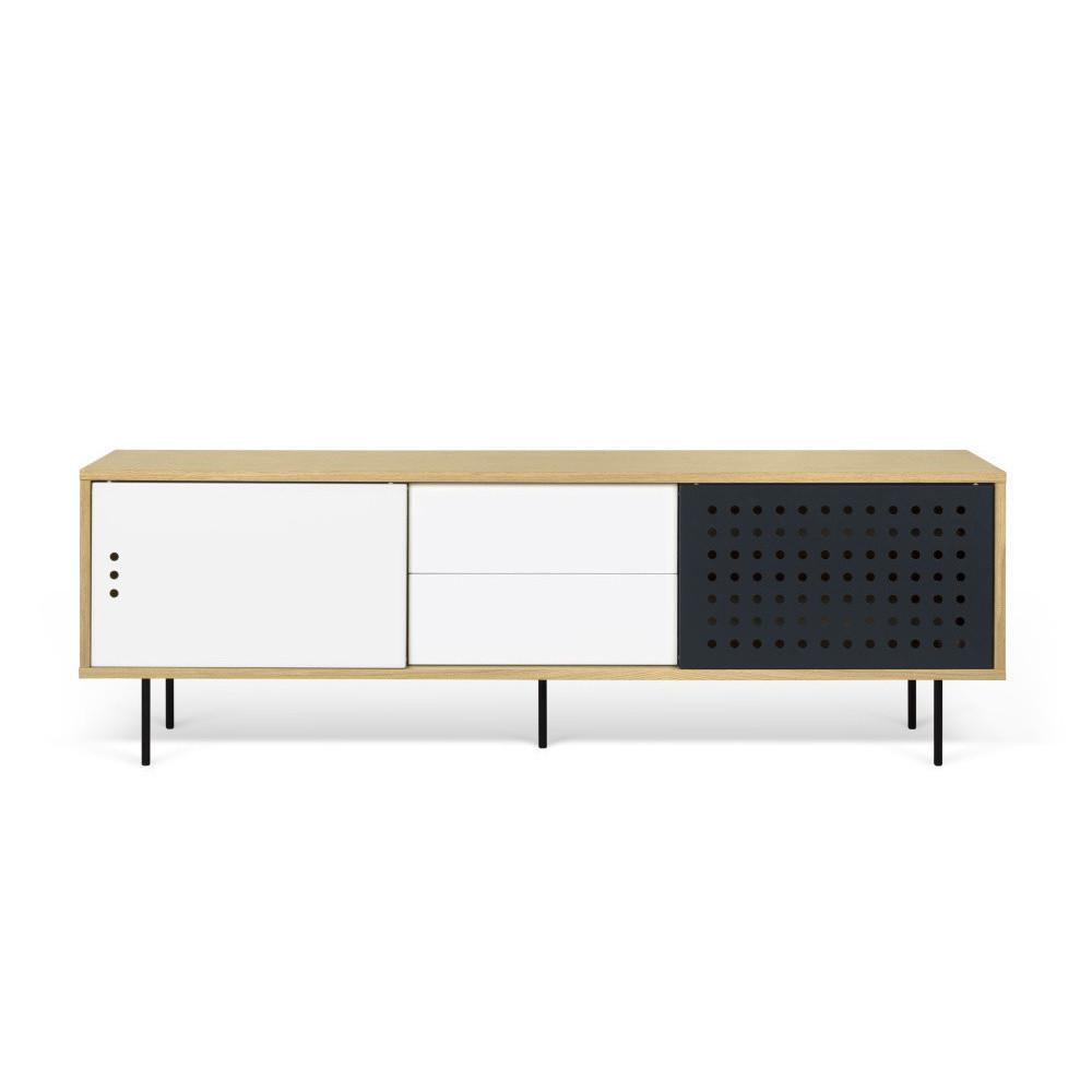 TV komoda v dekore dubového dreva s čierno-bielymi detailmi TemaHome Dann Dots, dĺžka 201 cm