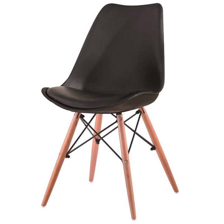 Jedálenská stolička Kemal (tmavosivá + buk)