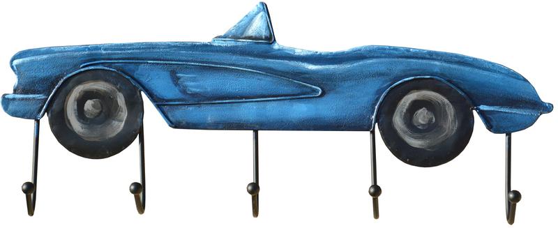Kovový nástenný vešiak, modré auto, 60x23x7cm.