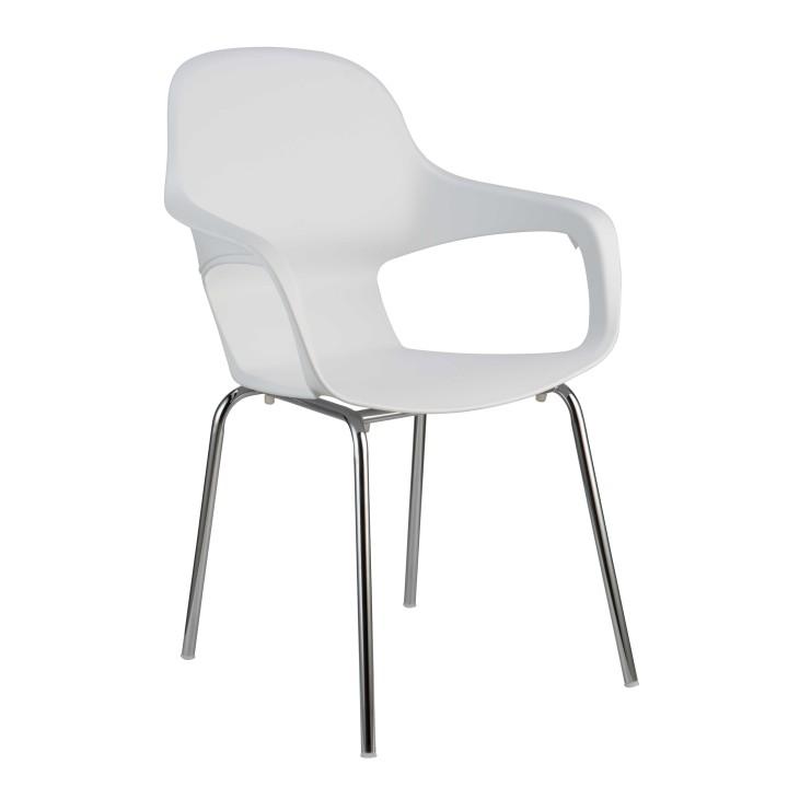 TEMPO KONDELA DORIEN jedálenská stolička - chróm / biela