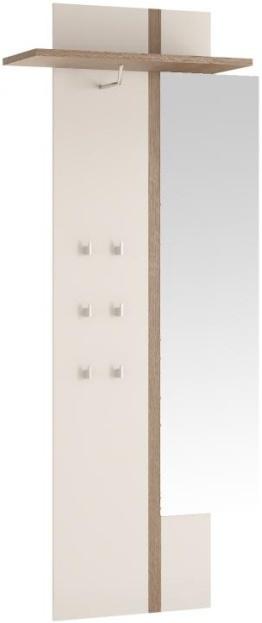 TEMPO KONDELA LYNATET 115 vešiakový panel so zrkadlom - biela / dub sonoma truflový