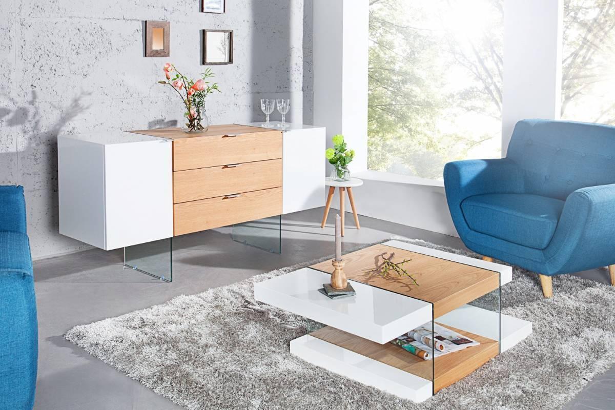 Konferenčný stolík ANEX 110 cm - prírodná/biela