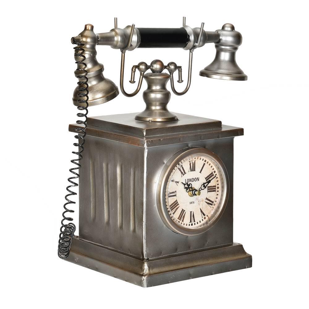 [en.casa]® Stolové hodiny v tvare starého telefónu - analógové - 35 x 19 x 33 cm - farebné