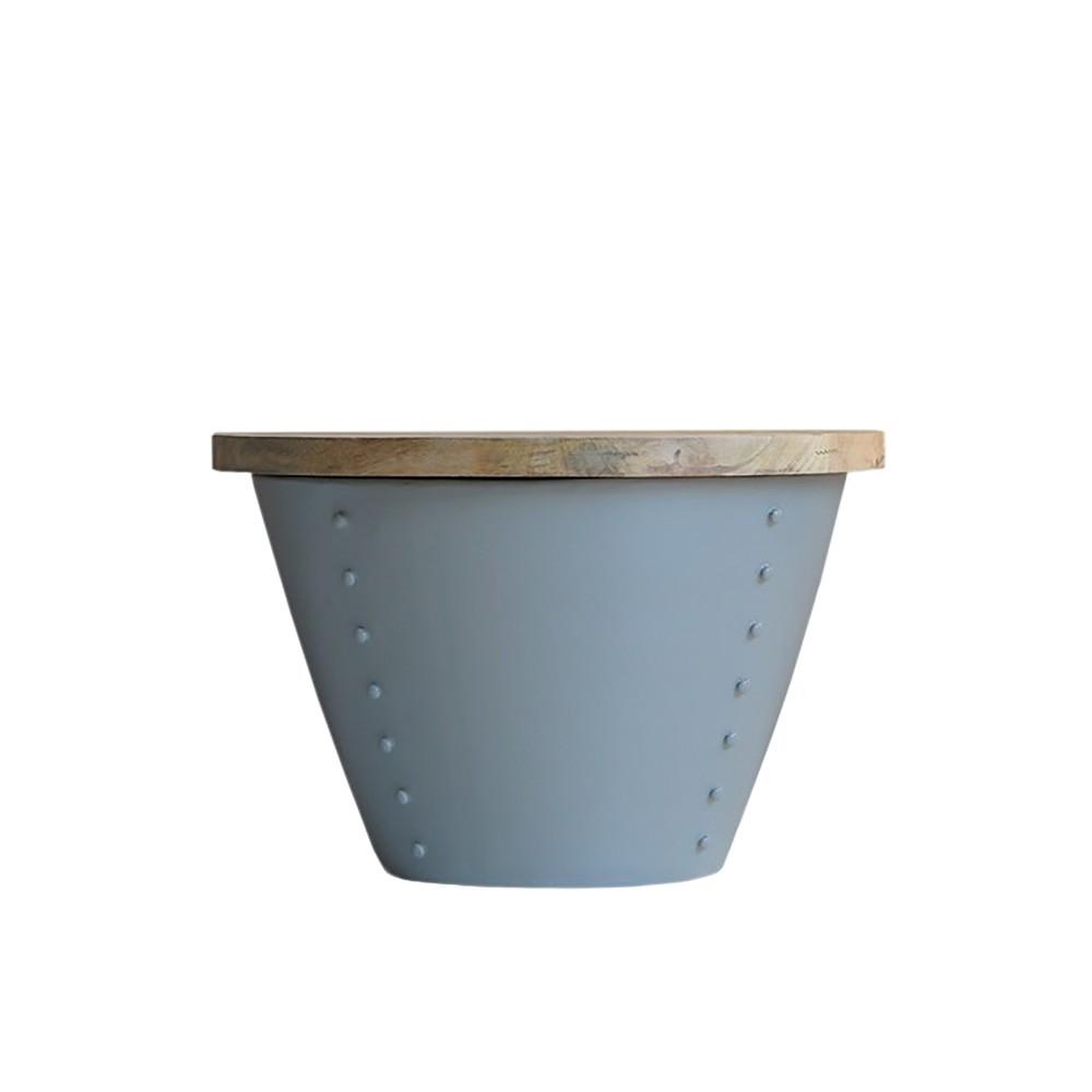 Sivý príručný stolík s doskou z mangového dreva LABEL51 Indi, Ø 46 cm