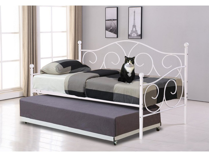Jednolôžková posteľ 90 cm Saina (biela) (s roštom a prístelkou)