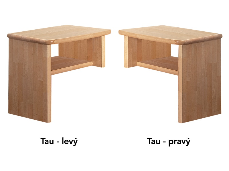 PreSpánok Tau - nočný stolík z buku alebo dubu Buk prírodný ľavý 45x40x48 cm