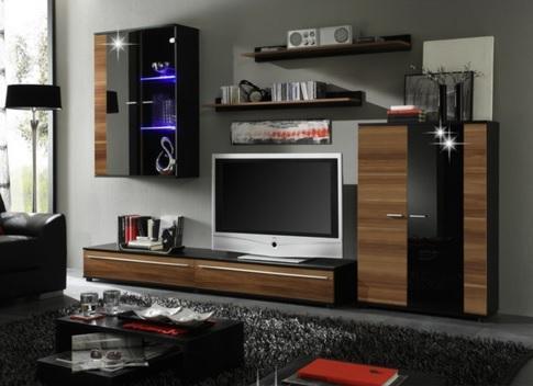 Moderná obývacia stena CANNES, slivka/čierny lesk