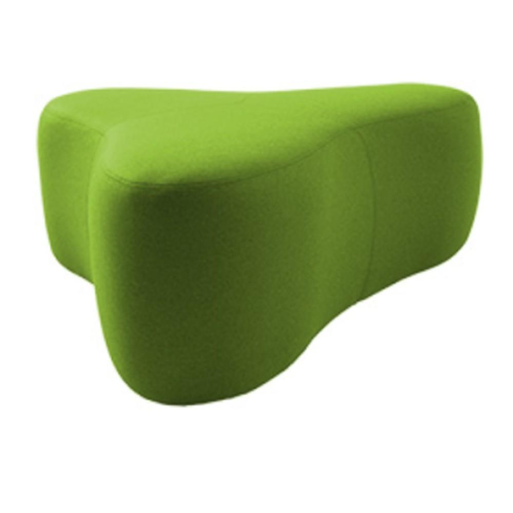 Zelený puf Softline Chat Felt Melange Green, dĺžka 130 cm