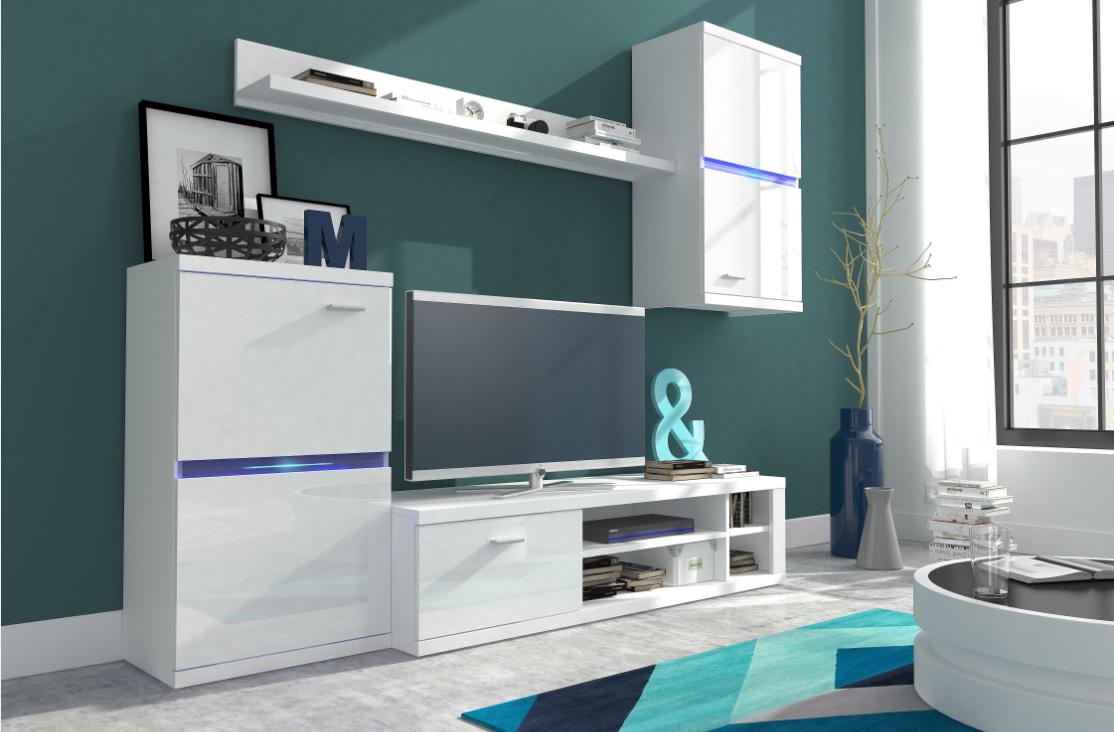 Malá obývacia stena INEZ biely lesk