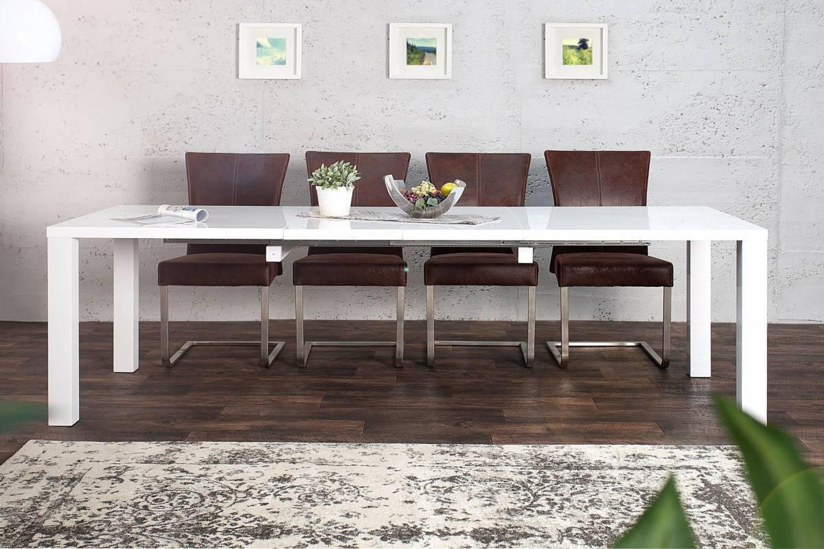 Jedálenský stôl LUCENTO XL 160-240 cm - biela