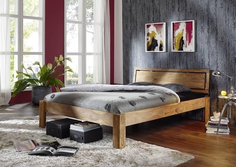 NATURE BROWN Sheesham posteľ 160x200, masívne palisandrové drevo #521