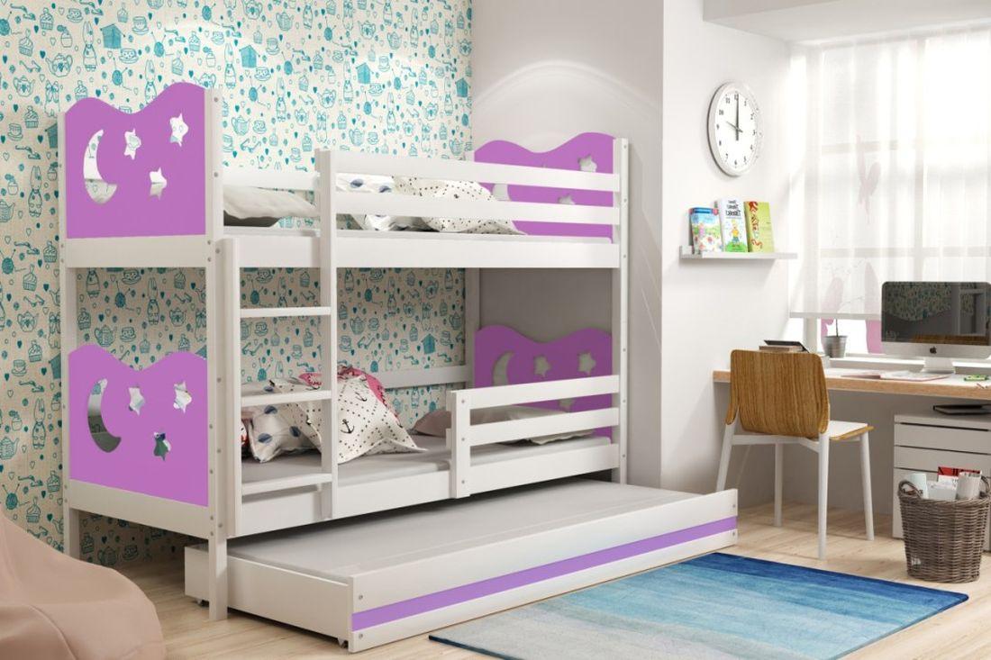 Poschodová posteľ KAMIL 3 + matrac + rošt ZADARMO, 90x200, biela/fialová