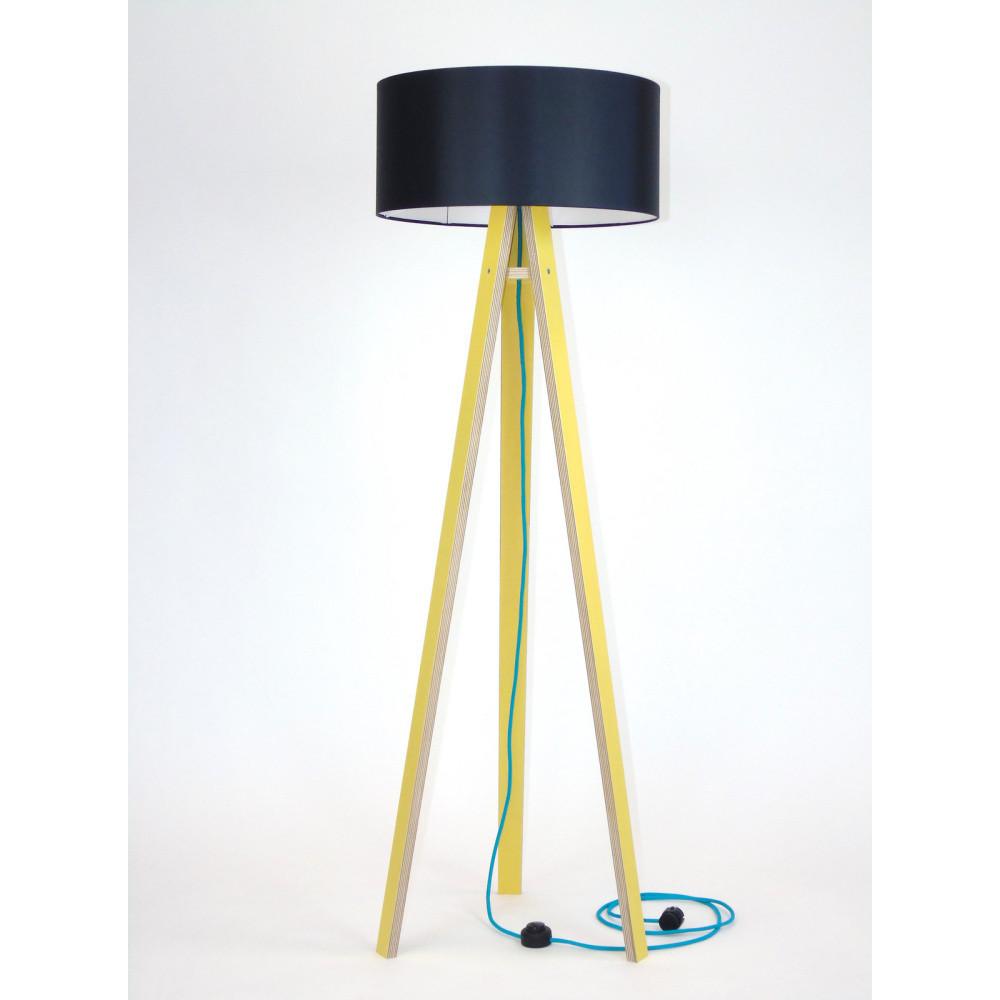 Žltá stojacia lampa s čiernym tienidloma tyrkysovým káblom Ragaba Wanda