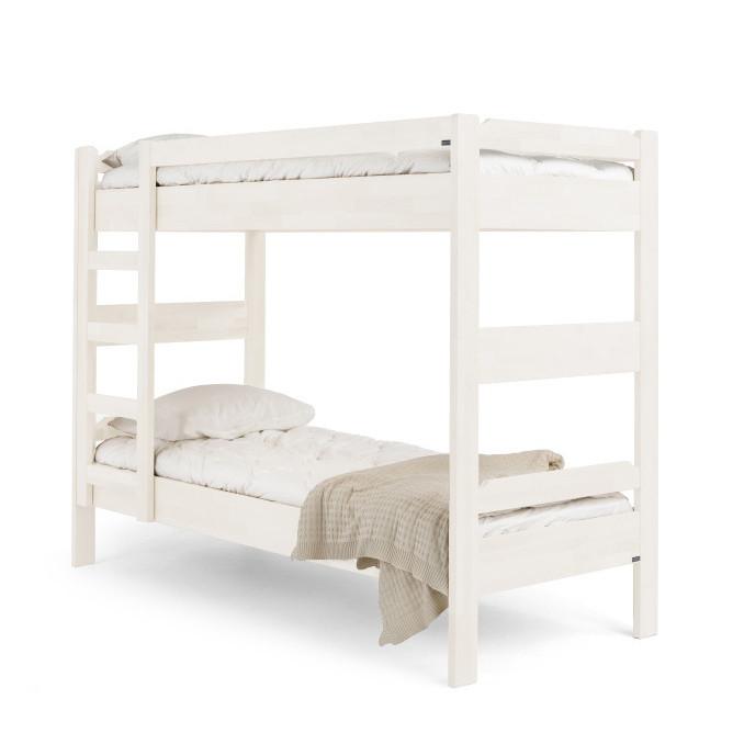 Biela ručne vyrobená poschodová posteľ z masívneho brezového dreva Kiteen Kuusamo, 80 x 200 cm
