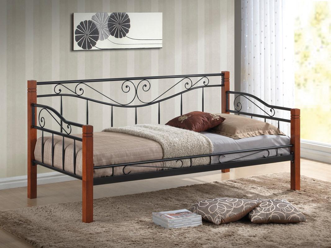 WIP KENIA 90 posteľ s roštom - čierny kov / čerešňa antická