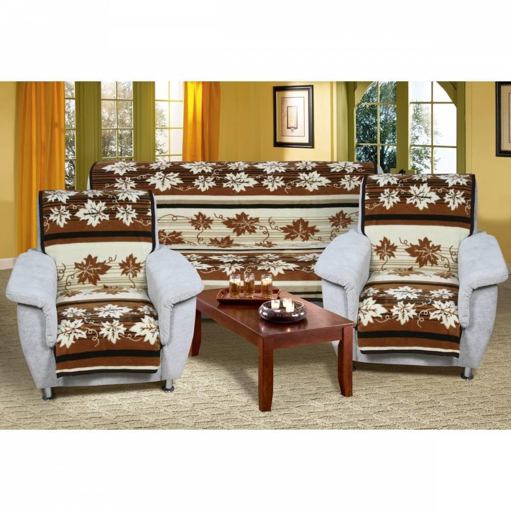 Bellatex Prehozy na sedaciu súpravu Karmela Plus Hnedé listy, 150 x 200 cm, 2 ks 65 x 150 cm