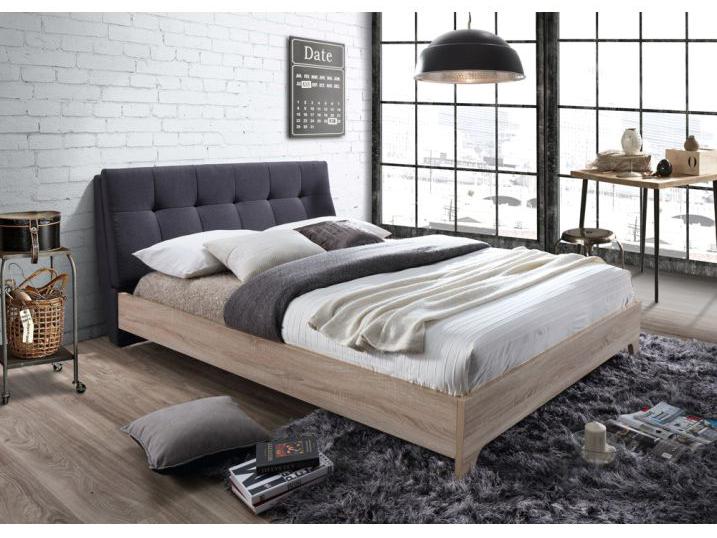 Manželská posteľ 160 cm Loran (s roštom) (sivá + dub sonoma)