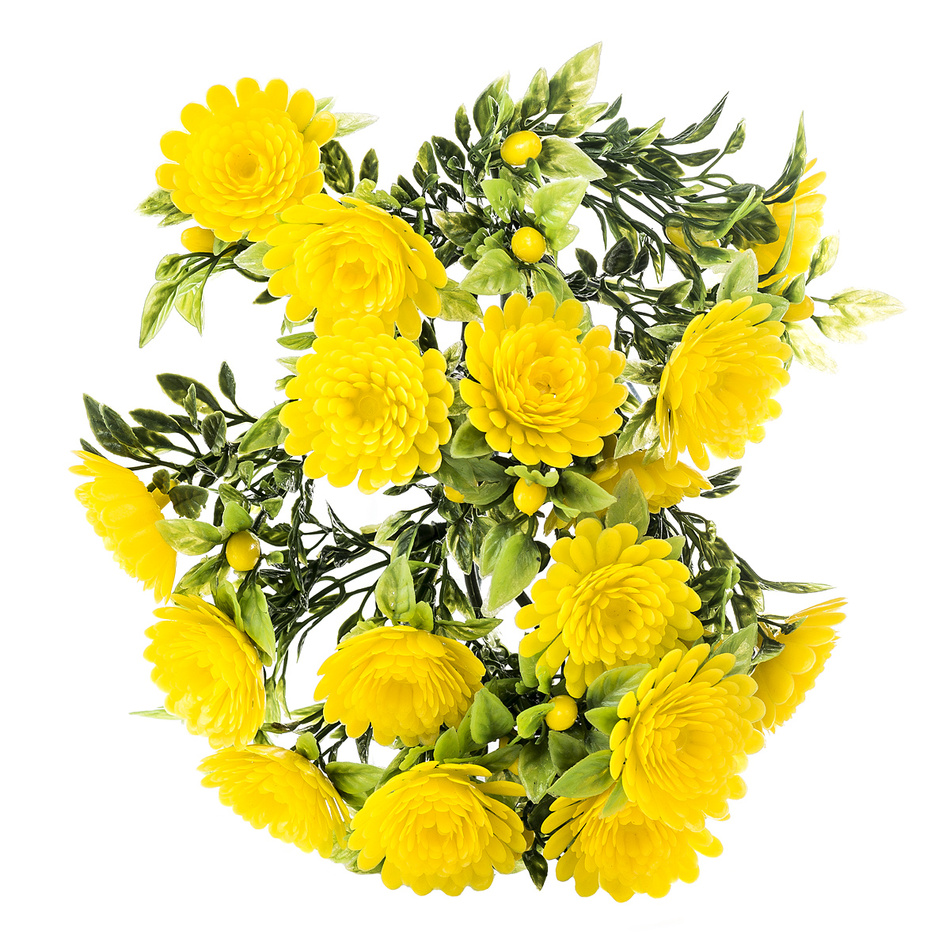Umelé kvetiny chryzantéma, žltá, 30 cm, HTH
