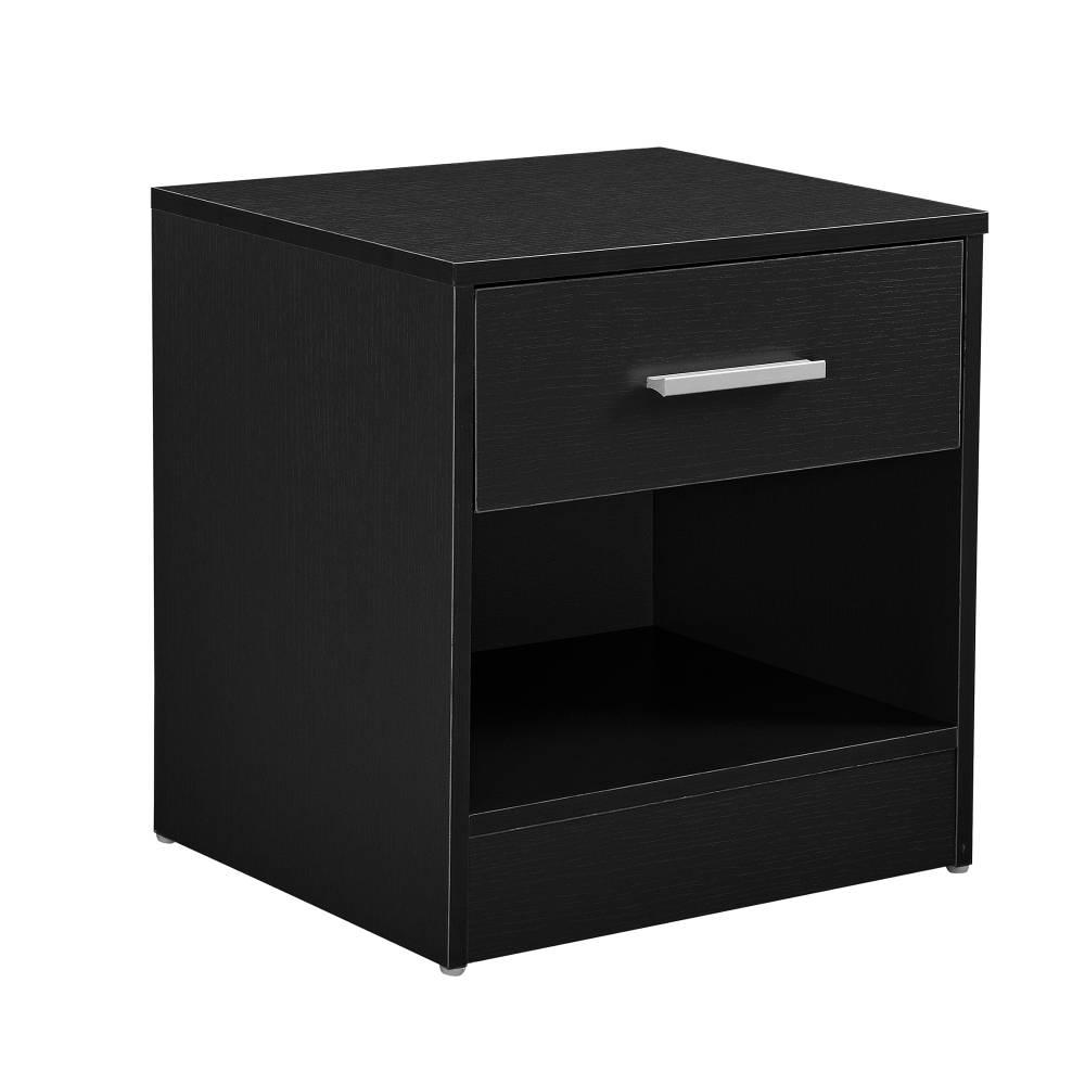 [en.casa]® Nočný stolík so zásuvkou - komoda / kancelárska skrinka - čierna