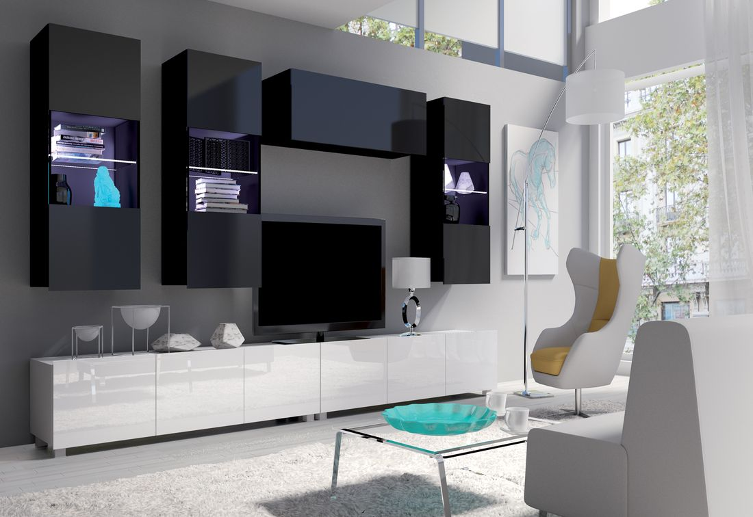 Obývacia zostava BRINICA NR5, čierna/čierny lesk + biela/biely lesk + biely LED