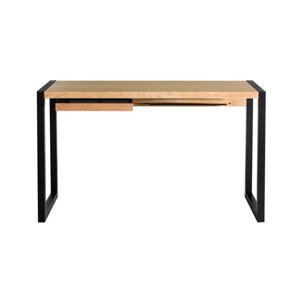 Pracovný stôl v dubovom dekore s čiernymi nohami Wermo Renfrew, 126×55cm