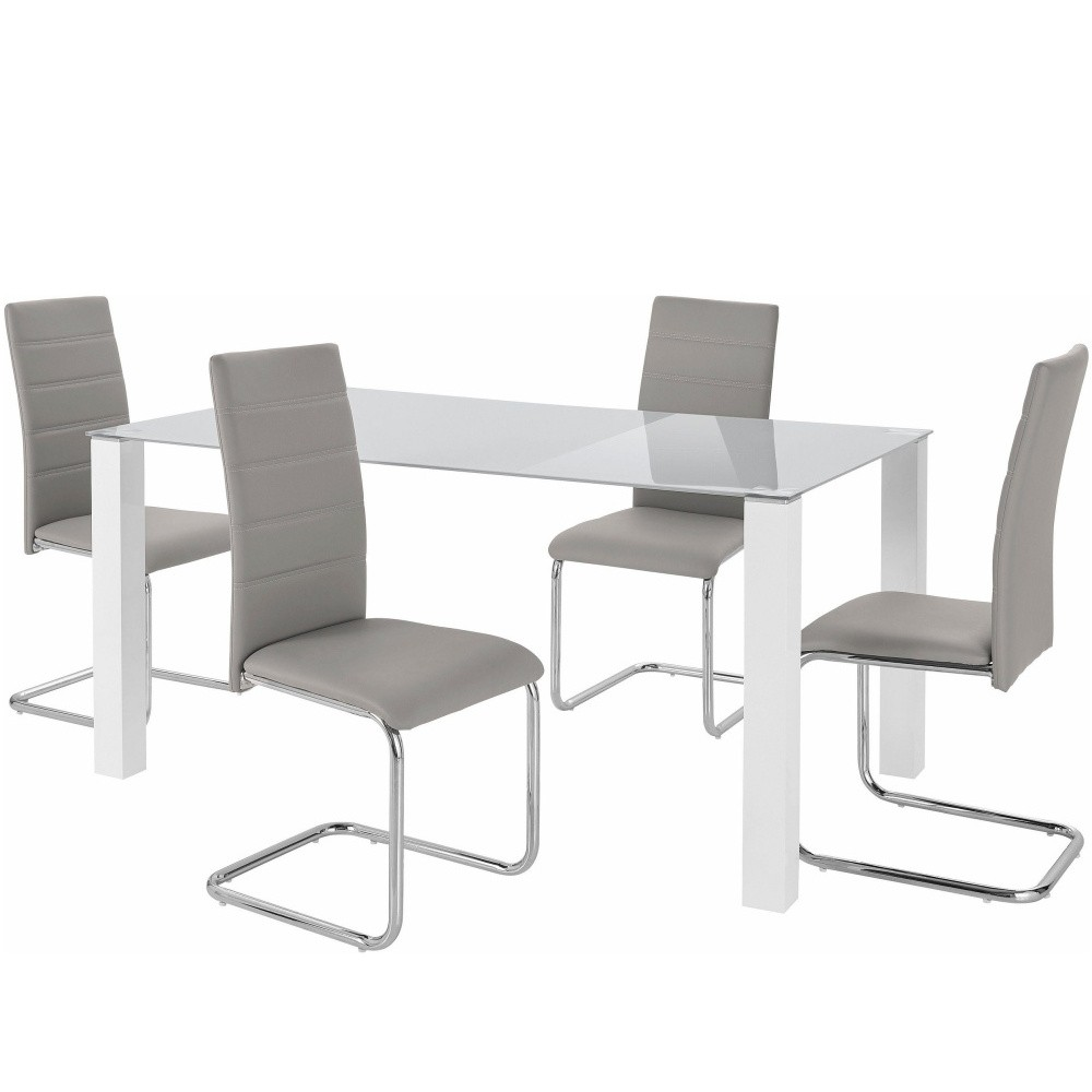 Sada stola a 4 sivých stoličiek Støraa Naral