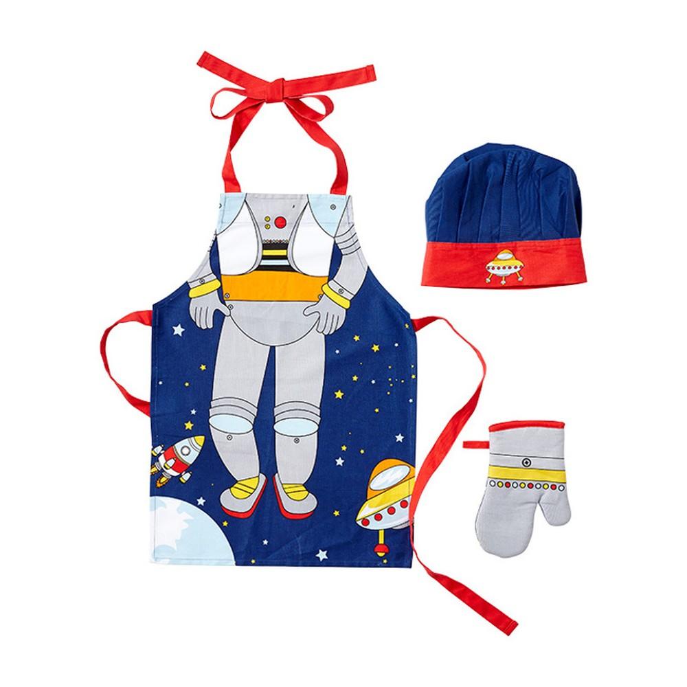 Set detskej zástery, chňapky a čiapky Ladelle Spaceman
