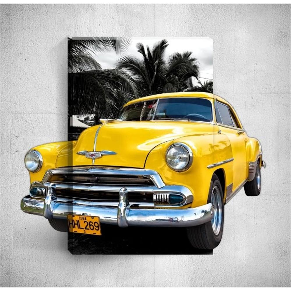 Nástenný 3D obraz Mosticx Yellow Retro Car, 40×60 cm
