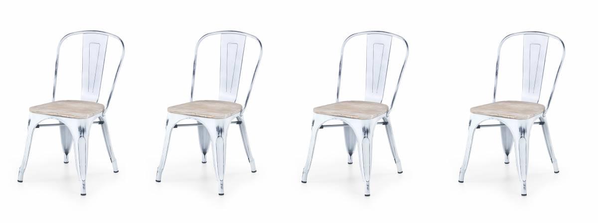 Set 4ks. jedálenských stoličiek K204 (biela + kov) *výpredaj