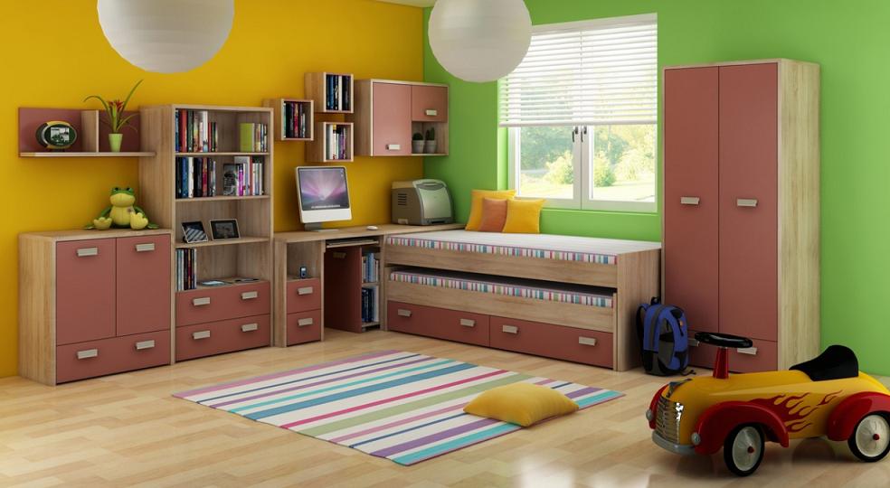 Detská izba KITTY 1   Farba: Dub sonoma svetlá / koral