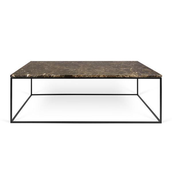 Hnedý mramorový konferenčný stolík s čiernymi nohami TemaHome Gleam,120cm