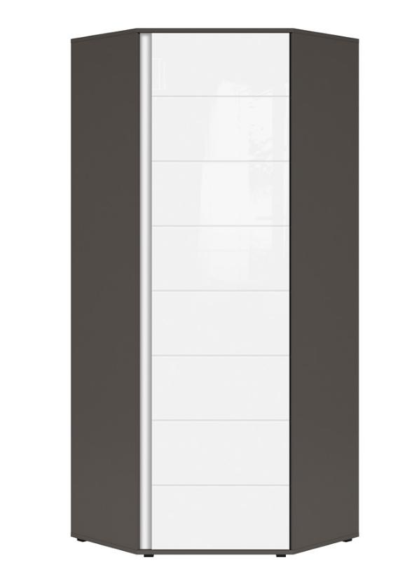 Šatníková skriňa rohová Graphic SZFN1D/C   Farba: sivý wolfram / biely lesk