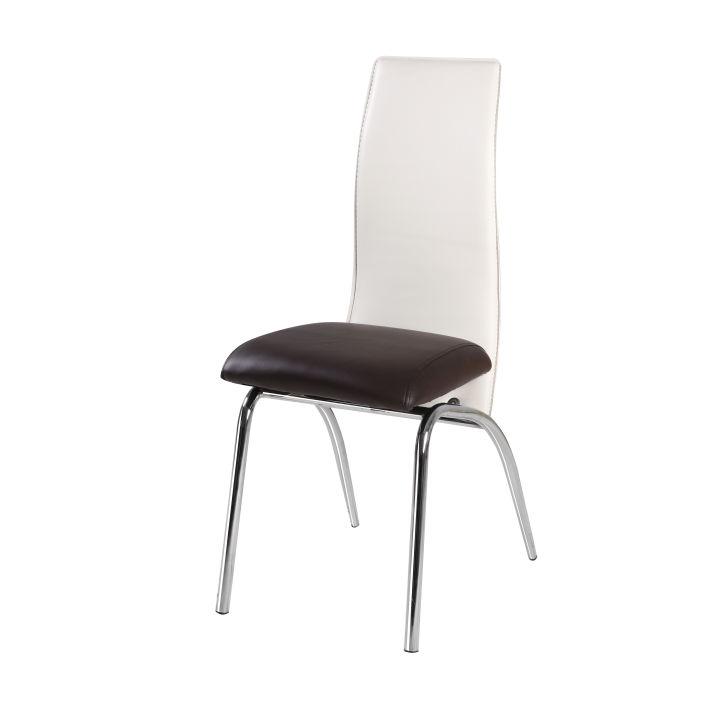 TEMPO KONDELA DOUBLE jedálenská stolička - chróm / tmavohnedá / béžová