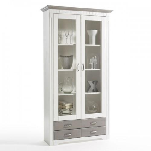 Biely nábytok Vitrína Costa 2D /4S, dekor biela /starošedá, masív, borovica