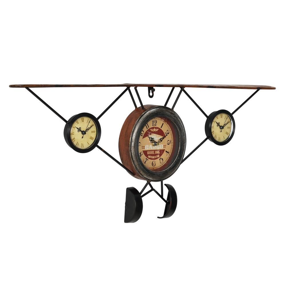 [en.casa]® Nástenné hodiny tvar starého lietadla - analógové - 78 x 5 x 32 cm - farebné – sklo