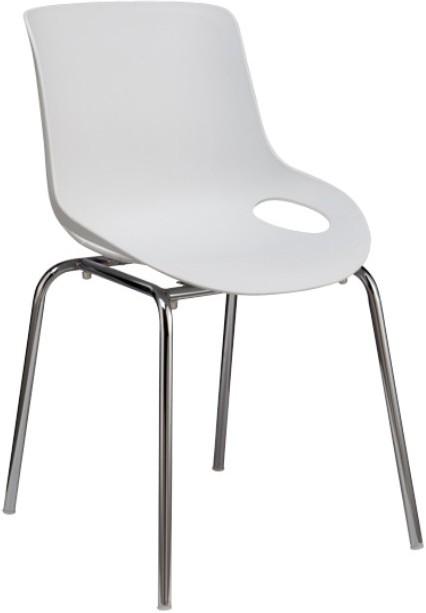 Jedálenská stolička, chróm + plast, biela, EDLIN